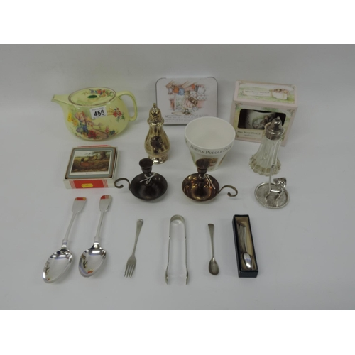 456 - Misc china - Beatrix Potter, plated ware etc...