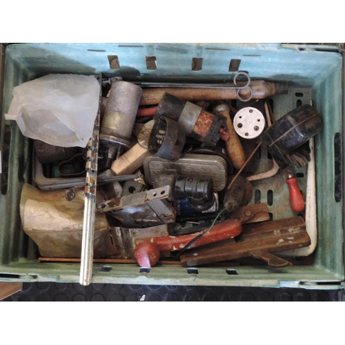 473 - Plastic crate and contents - ironmongery...