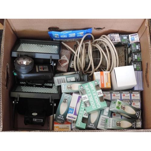 474 - Box of outdoor light fittings, light bulbs etc...