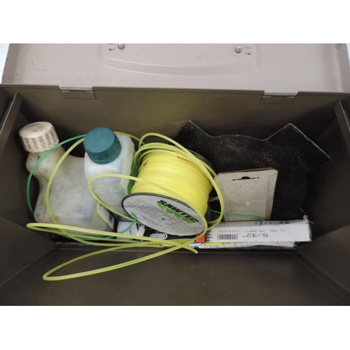 503 - Metal filing box and contents - strimmer wire etc...