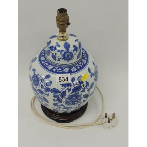534 - Oriental-style lamp base...