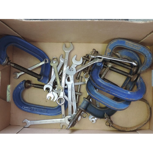 542 - Box of tools - spanners, clamps...