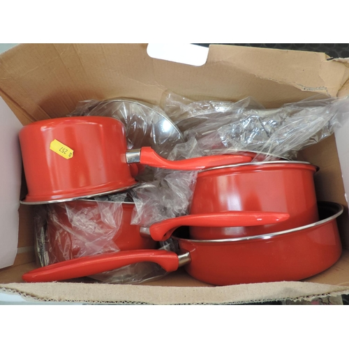 564 - Boxed saucepan set...