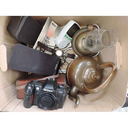 572 - Box containing Copper kettle, cameras etc...