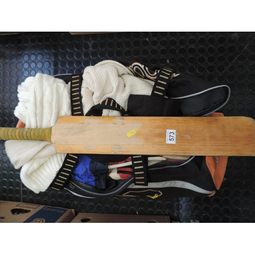 573 - Cricket outfit, cricket bats...