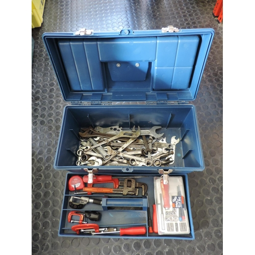584 - Plastic tool box and contents...