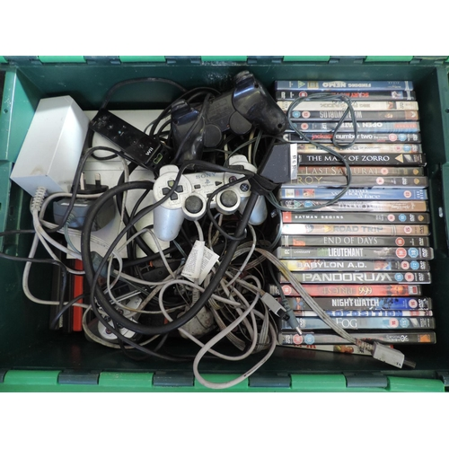589 - Plastic crate and contents - PlayStation, DVDs etc...