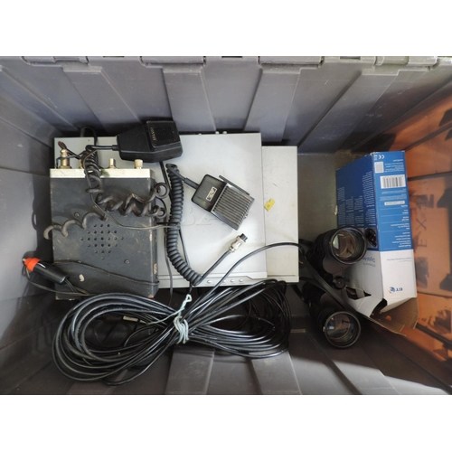 591 - Plastic crate and contents - CB radio, electricals, binoculars etc...