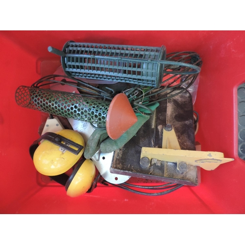 598 - Plastic crate and contents - tools, ironmongery...
