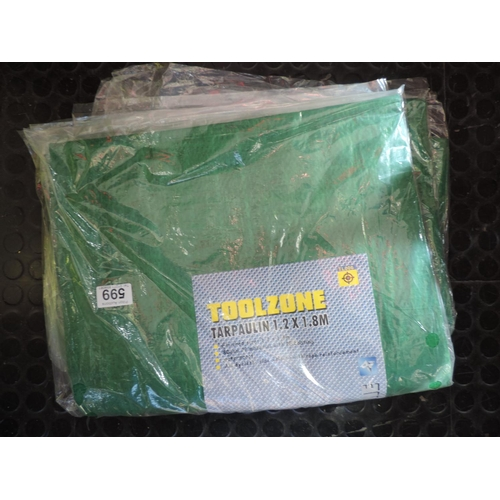 599 - 5x New 1.2mx 1.8m tarpaulins...
