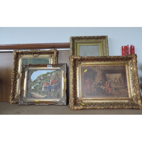 605 - Large quantity of gilt framed pictures...