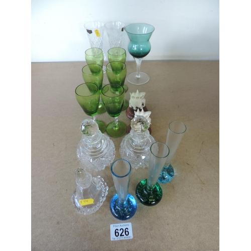 626 - Coloured glassware...