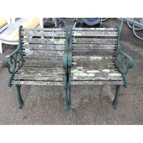 64 - Pair of Metal end garden seats...