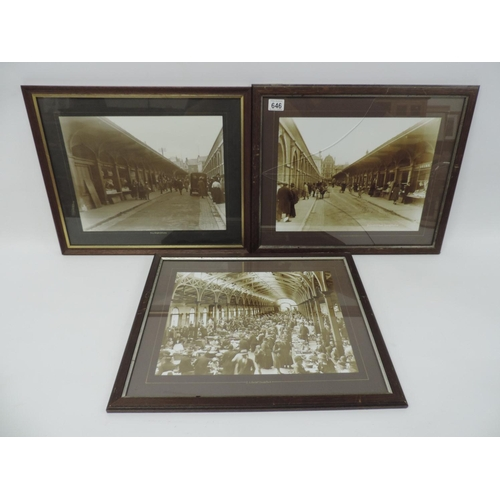 646 - 3x framed photographs - Barnstaple, Pannier Market, Butchers Row...