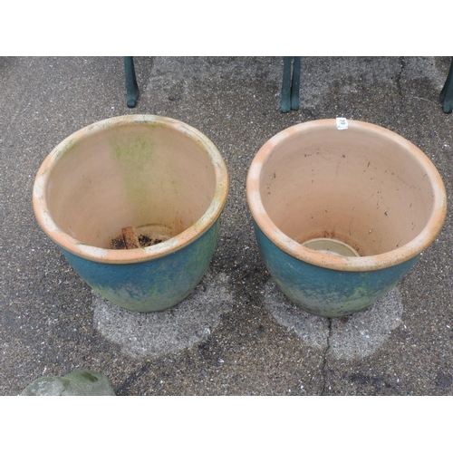66 - Pair of large blue glazed garden planters - 15'' high...