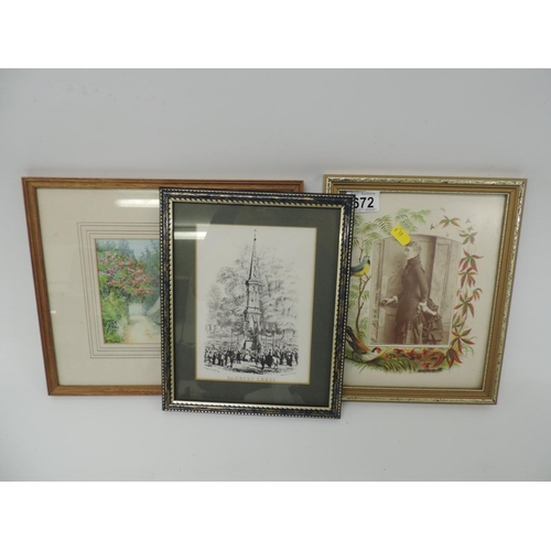 672 - 3x framed pictures...