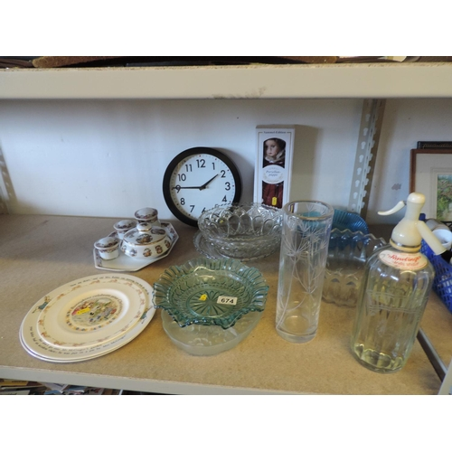674 - Glassware, collector's doll, clock, Bunnykins plates, dressing table set etc...