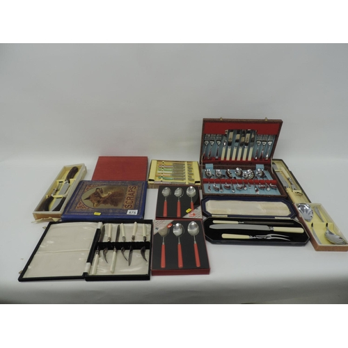 675 - Cased plated cutlery, scrapbooks etc...