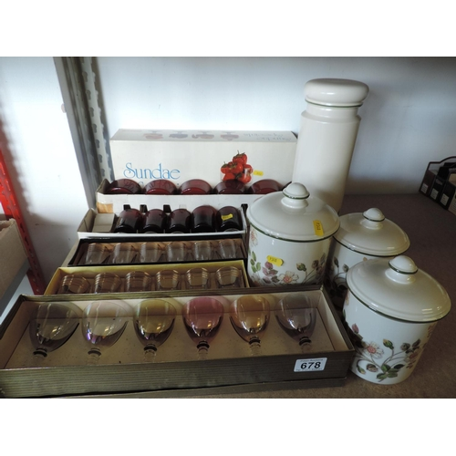 678 - Storage jars, boxed glass sets...