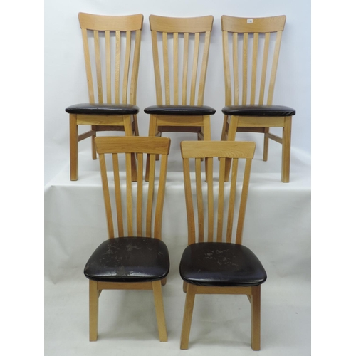 706 - 5x Modern Oak dining chairs...
