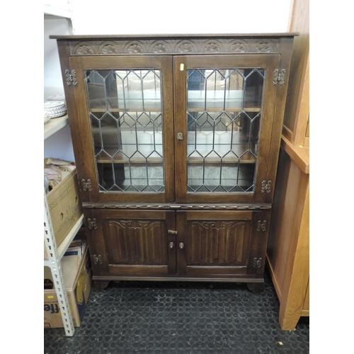 718 - Oak Old Charm-style glazed cabinet -39''x 14''x 53''...