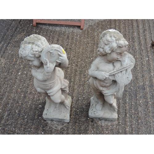 73 - 2x Concrete garden cherubs - musicians - 25'' high...