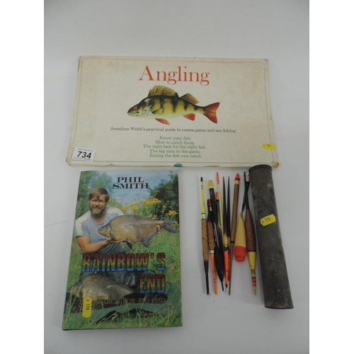 734 - Hardback book and folder - Angling, and tin of fishing floats...
