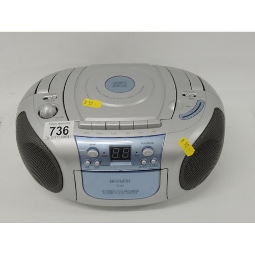 736 - Portable CD radio cassette...