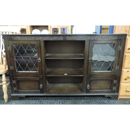 737 - Oak shelves with glazed cupboards to either end - 64''x 13''x 39''...