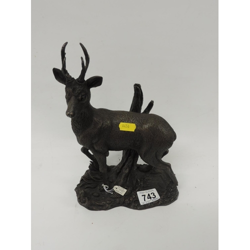 743 - Limited edition sculpture by Michael Tandy - Roe Deer...