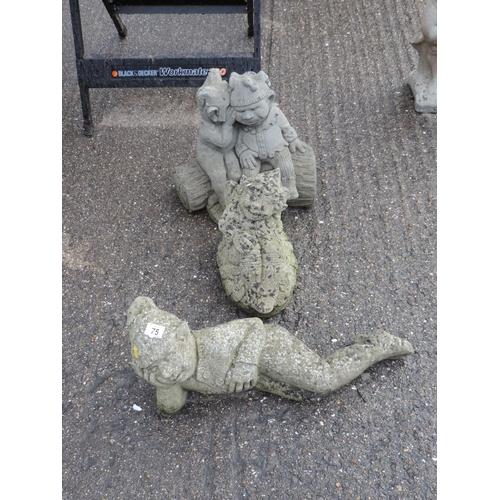 75 - 3x Concrete garden gnomes...