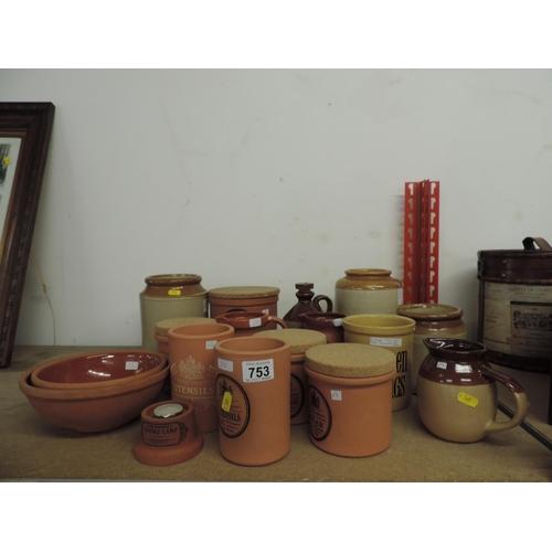 753 - Quantity of modern Brannam terracotta storage jars, TG Green jar, stoneware pots etc...