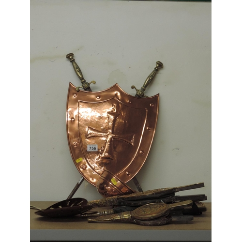 756 - Copper shields, Brass bellows etc...