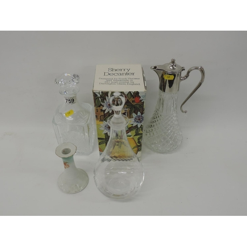 759 - Claret jug and 2x Crystal decanters - 1x Frank Thrower, Dartington...