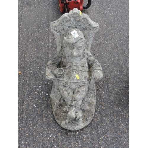 77 - Concrete garden ornament - seated gnome...