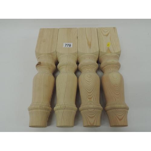 770 - 4x Turned Pine table legs...