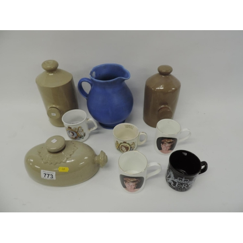 773 - Stoneware hot water bottle, commemorative mugs etc...