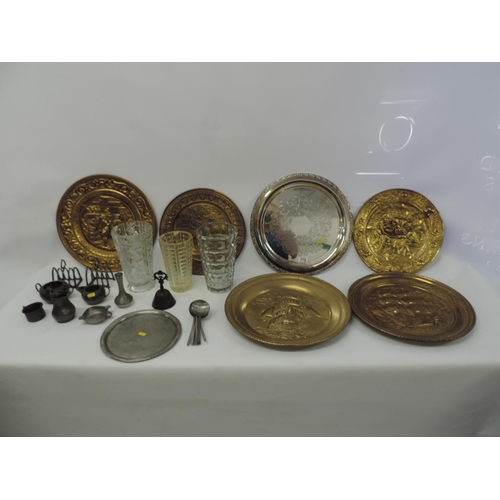 778 - Pewter ware, Brass chargers, 3x glass vases etc...