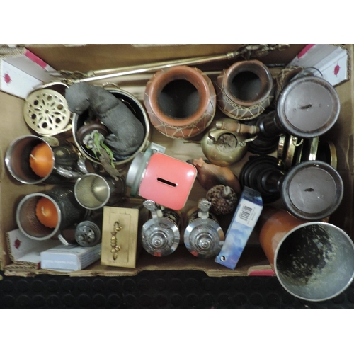 786 - Box of misc - tankards, carriage clock, candle sticks etc...