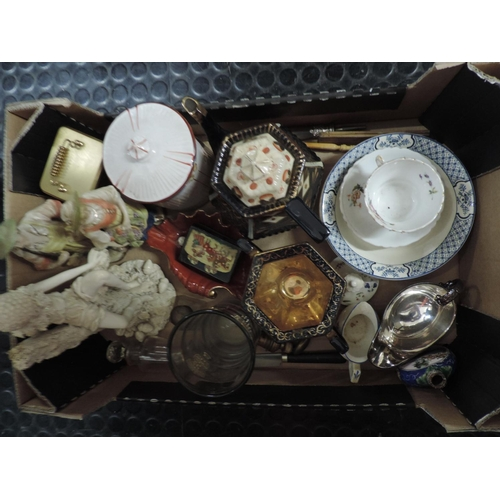 788 - Box of misc china figurines, hand painted tea pot etc...