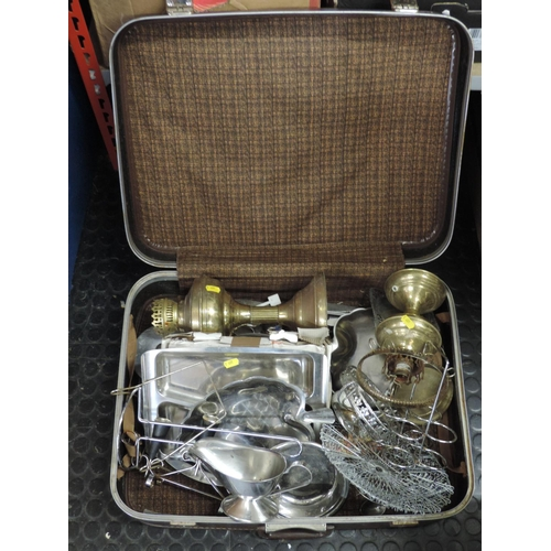 805 - Suitcase and contents - plated ware, lamps etc...