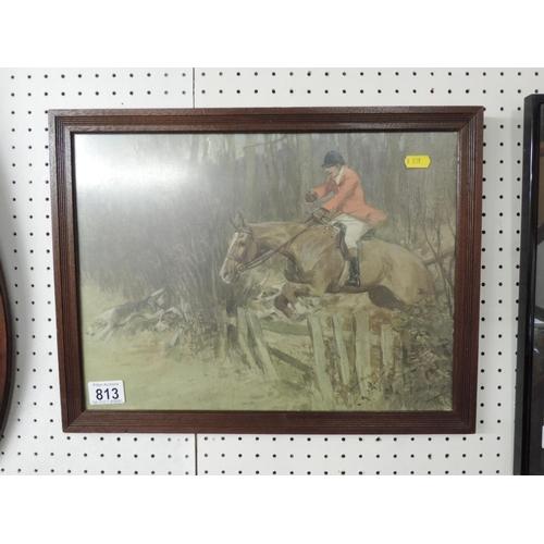 813 - Framed Hunting print...