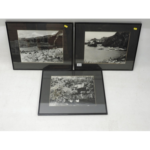 814 - 3x framed photographs - North Devon coast...