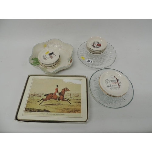 823 - Hunting place mats, china, glassware etc...