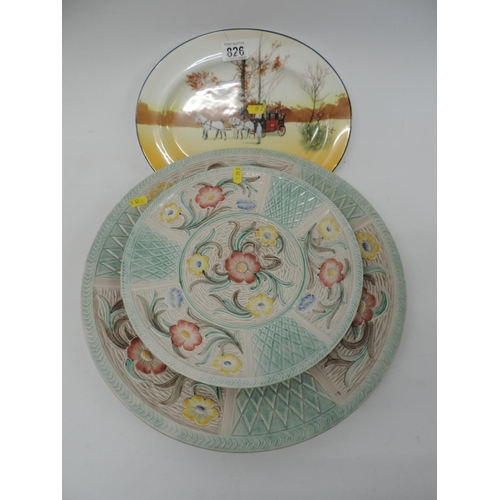 826 - Royal Doulton coaching plate and 2x Burslem chargers...