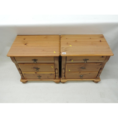 839 - Pair of Pine three drawer bedside cabinets...