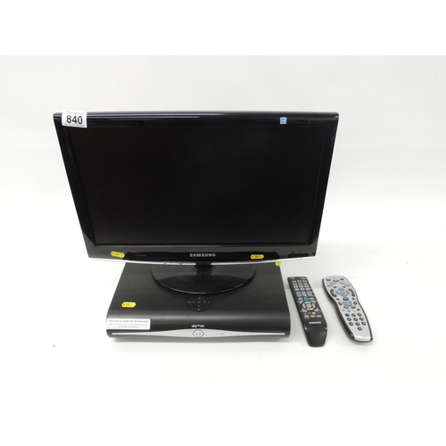 840 - Samsung 19'' flatscreen television with built-in DVD player and sky box...