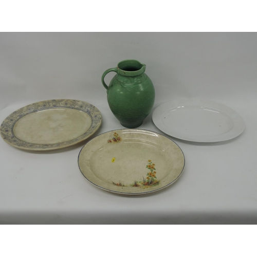 841 - Old meat plates and Brannam jug...