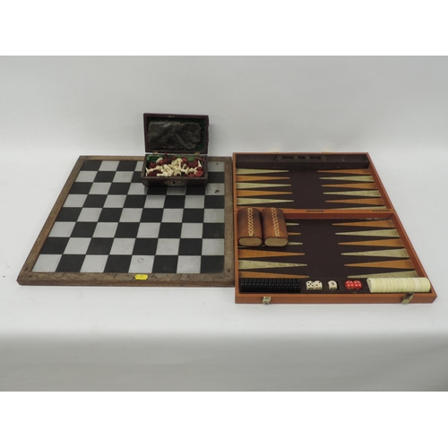 843 - Chess set, back gammon set...