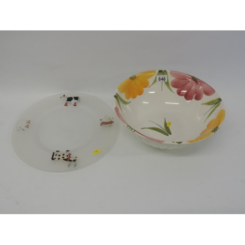 846 - Large decorative bowl and glass plate...